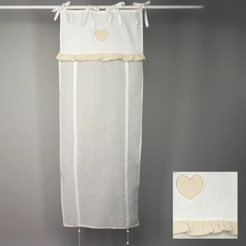 tenda finestra 80x160 cm bianco cuore beige e pois