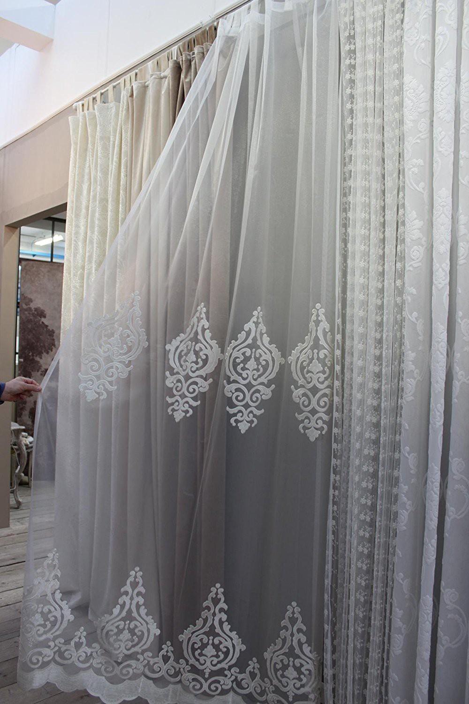 Tenda blanc maricl 140x290 cm ricamo barocco con passanti tende tessuti - Blanc mariclo mobili ...