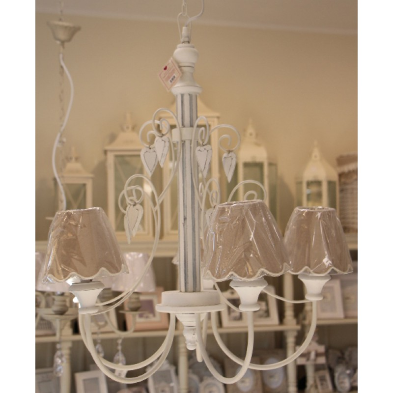 Lampadario shabby chic 5 luci angelica home country for Accessori lampadari